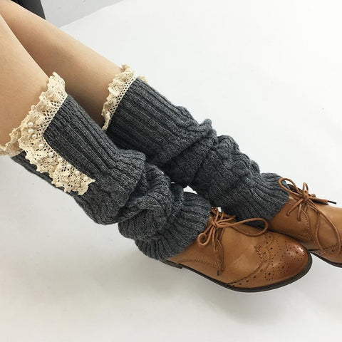 Fashion Casual Warm Knitted Stockings Lace Edged Wool Stockings