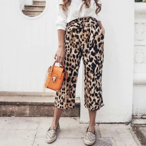Leopard Print With Waistband Loose Casual Wide-Leg Pants
