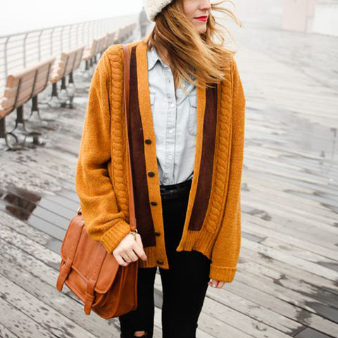 Women's Casual Solid Color Warm Cardigan