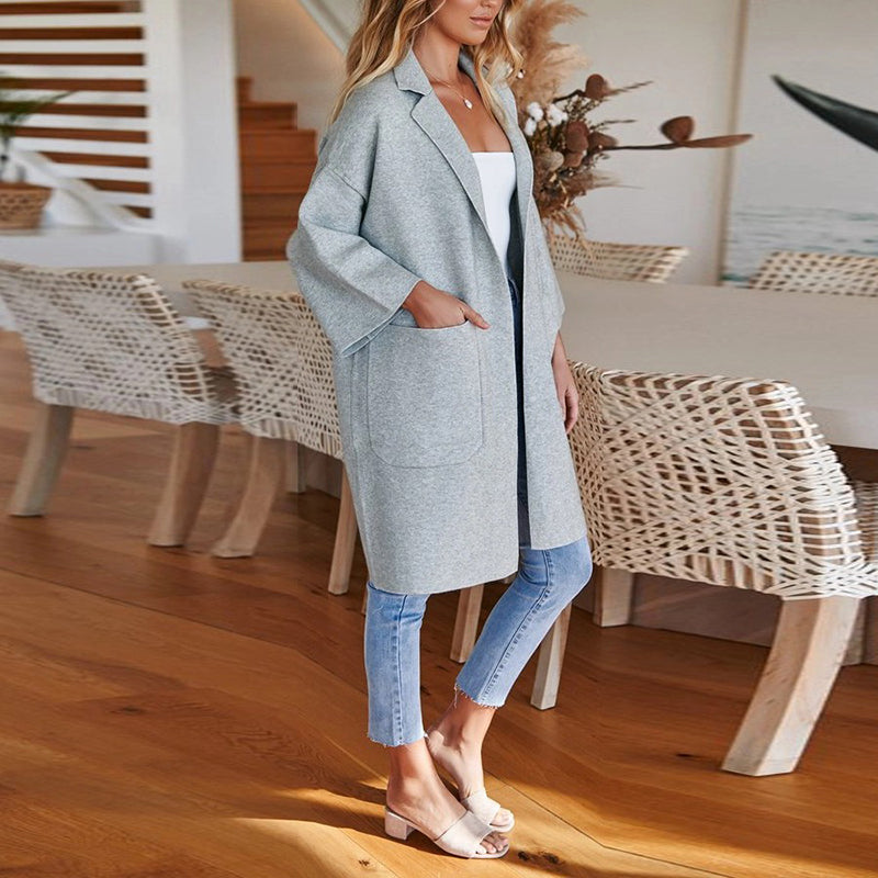 Modern Fashion Solid Colour Long Sleeve Overcoat