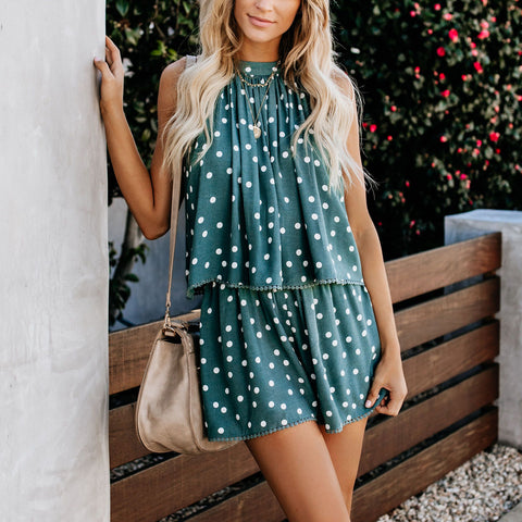 Casual Sleeveless Pleated Polka Dot Belted Suit