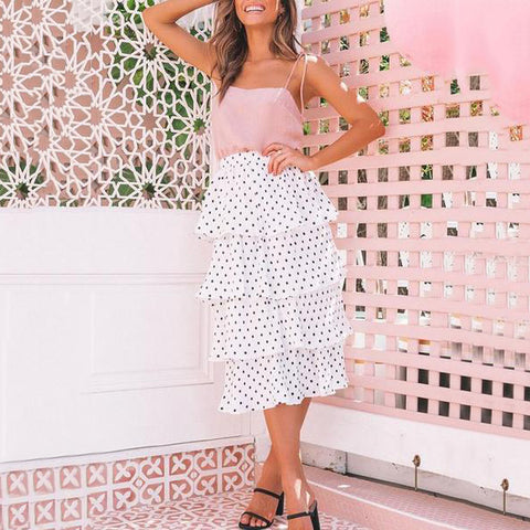 Polka Dot Tiered Pleated Midi Skirt