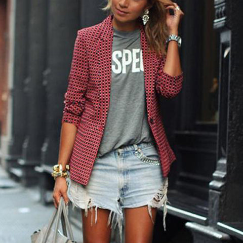 Fashion Casual Women's Red Plaid Long-Sleeved Lapel Blazer
