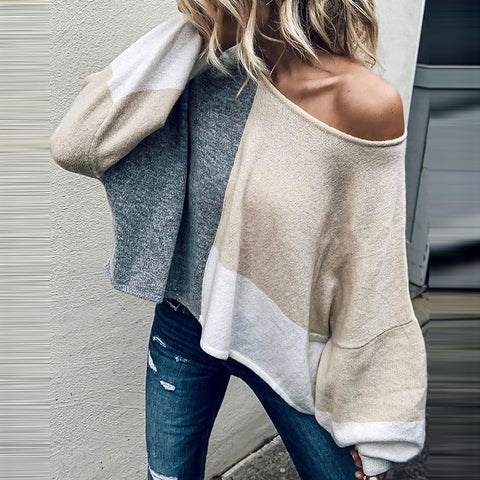 Fashion Round Neck Color Matching Bat Sleeve Sweater