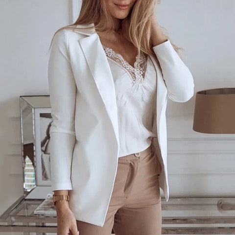 Fashion White Flip Collar Long Sleeve Small Suit Blazer
