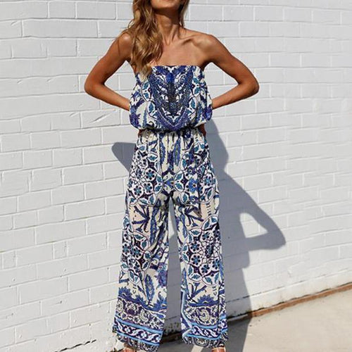 Off Shoulder Elastic Waist Abstract Print Sleeveless Jumpsuits 715d5a84b1da