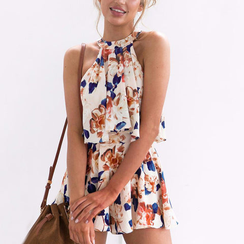 Sexy Casual Floarl Print Two Pieces Romper Outfits