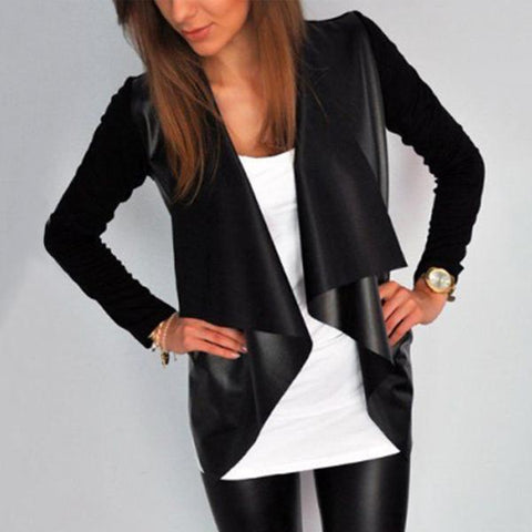 Fold Over Collar  Asymmetric Hem  Plain Blazer