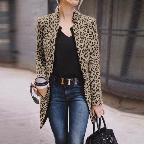 Fashion Straight Collar Long Sleeve Leopard Print Outerwear