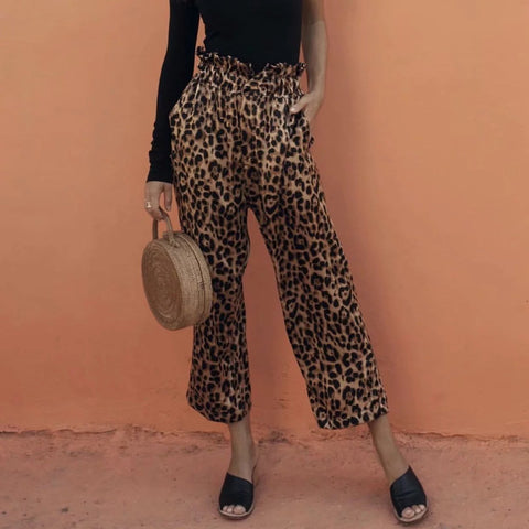 Fashion Leopard Slim High Waist Wide Leg Casual Pants