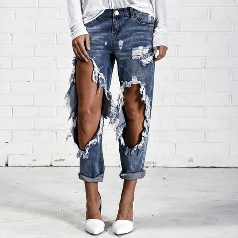 Fashion Big Ripped Knee Jeans