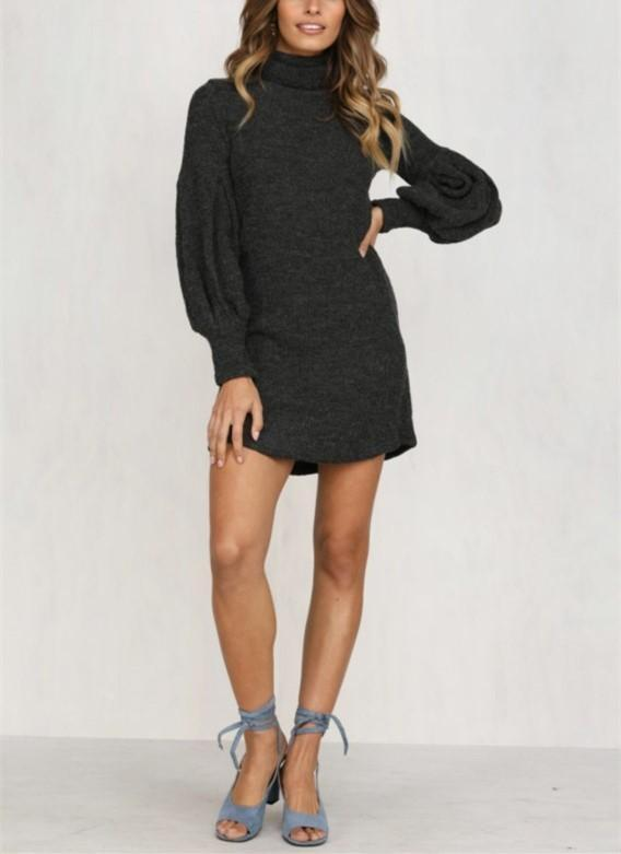 Lantern Sleeve Pure Color Knit Sweater Dress