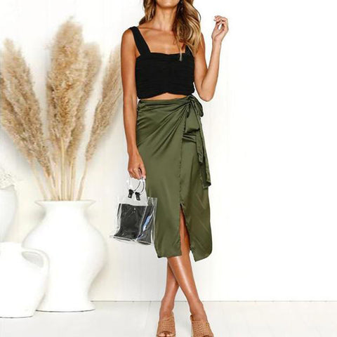 Bowknot Cutout High Slit Lace-Up  Belt Belt Loops  Leopard Plain Knee-Length Skirts
