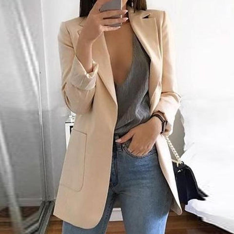 Solid Color Long-Sleeve Pocket Blazer