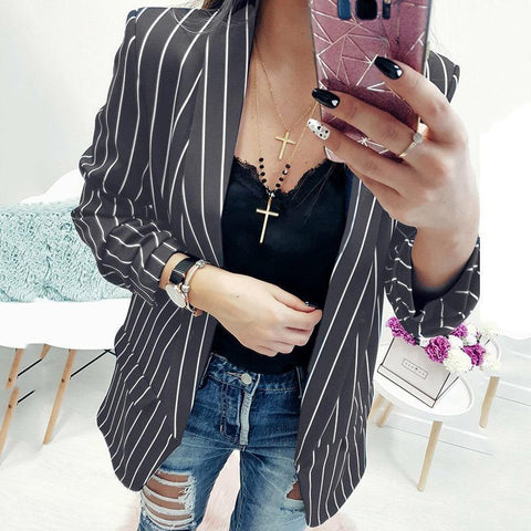 Fashion Casual Sexy Slim Long Sleeve Stripe Blazer