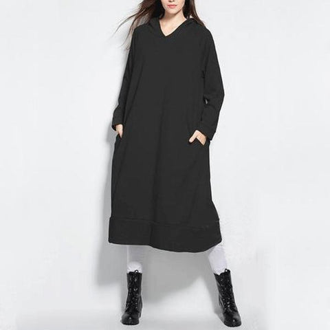 Chic Fashion Oversize Long Sleeves Plain Hoodie Dress