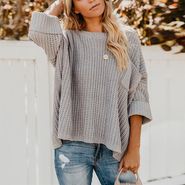 Casual Loose Long   Sleeve Knit Sweater With Shoulders Down