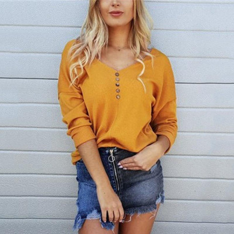 Casual Pure Color Sexy   V Neck Off The Shoulder Button Sweatshirt