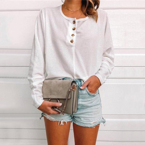 Casual Pure Color Button Knit T-Shirt