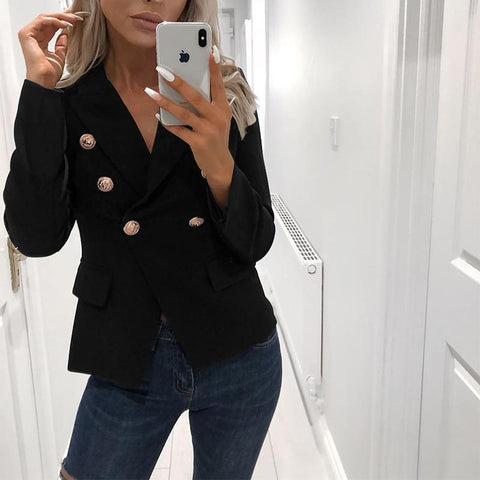 Fashion Turndown Collar Pure Colour Blazer