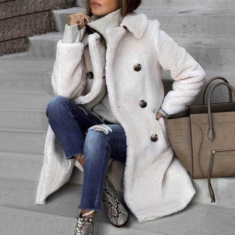 Winter Warm Solid Color Double-Breasted Long Coat