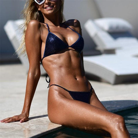 Fashion Sandbeach Sexy Sequins Frenulum Swimsuits Bikini