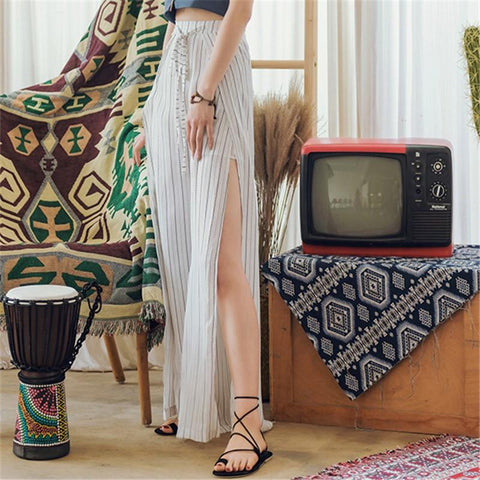 Fashion Slim Striped Chiffon Culottes Wide Leg Pants