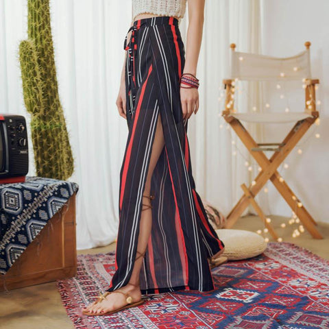 Fashion Slim Chiffon Striped Wide Leg Pants