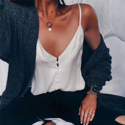 Casual Loose Sexy Sling V Neck Camis