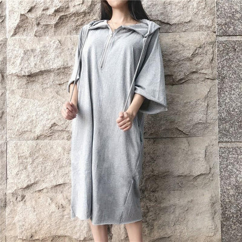 Women's Casual Pure Color Loose Zip Long Style Hoodie Dress