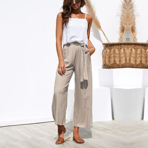 Casual Frenulum Pure Color Wide Leg Pants