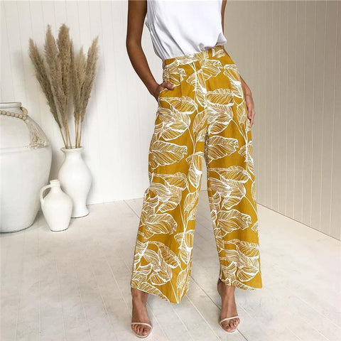 Casual High Waist Leaf Printing Straight Pants
