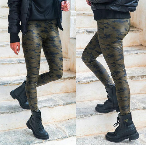 Casual High Waist Slim   Camouflage Print Tight Pants