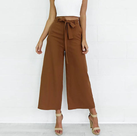 Casual Sexy Frenulum   High Waist Slim Wide Leg Pants