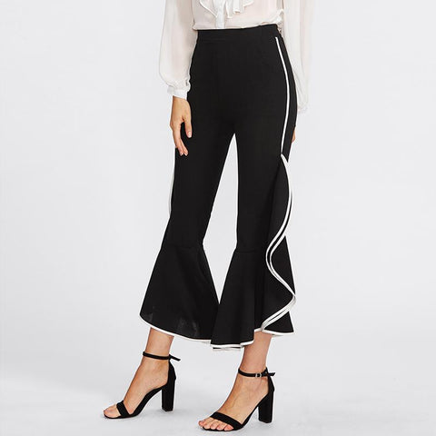 Casual High Waist  Slim Falbala  Bell Bottomed   Pants