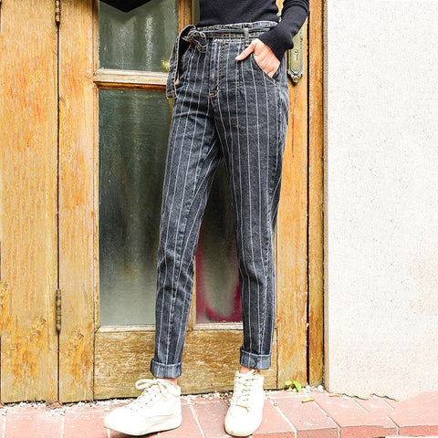 Casual Sexy High Waist   Frenulum Slim Strips Jeans Pencil Pants