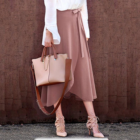 Fashion Plain Belted Loose Skirt