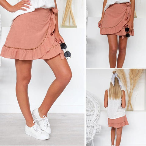 Lace Stitching Mini Skirt