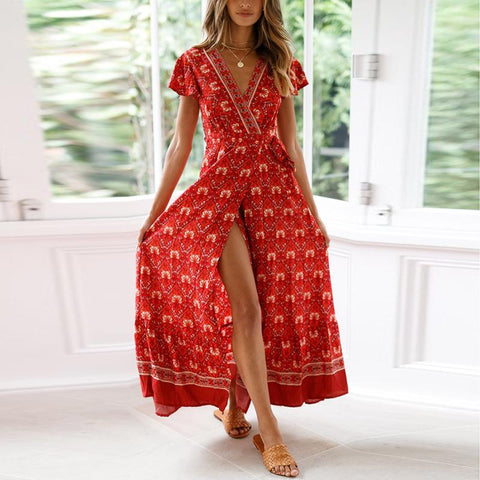 Casual Sexy Deep V   Neck National Style Printing Maxi Dresses