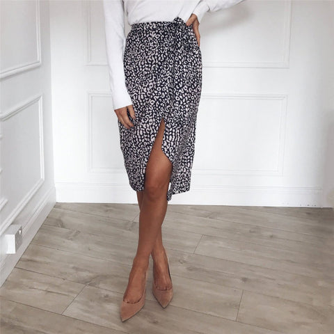 Summer Leopard Print Frenulum Fork Tight Skirt