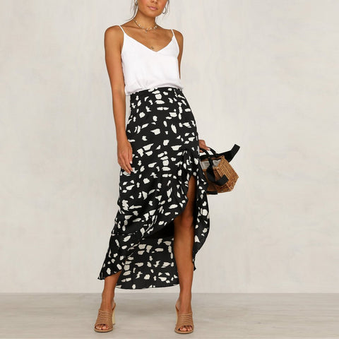 Sexy Wave Point Ruffled Irregular Skirt