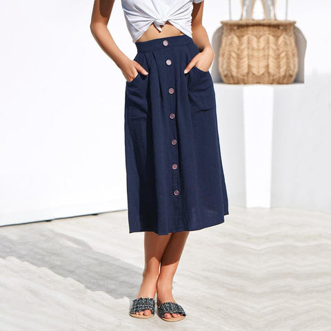 Wild Four-Color Single-Breasted   Loose Pocket Skirt