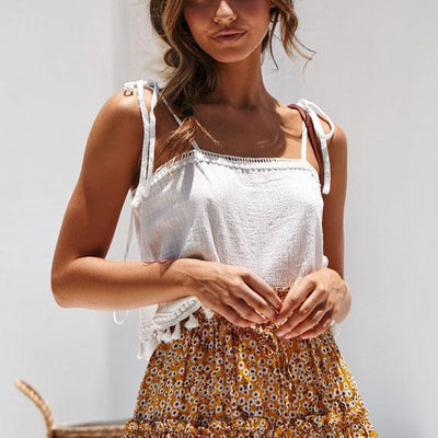 Sweet Lace Fringed Strapless Sling Camis
