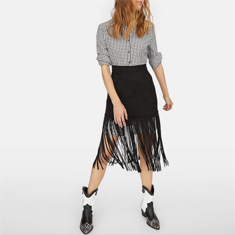 Fashion Fringe Decorated Solid Color Tight Skirt