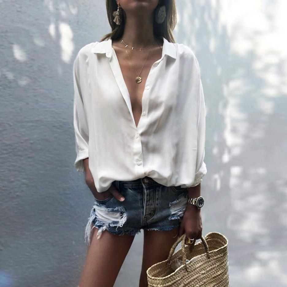 Sexy Deep V-Neck Solid Color Chiffon Shirt