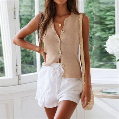 Summer Sleeveles Solid Color Button Sleeveless Garment Camis