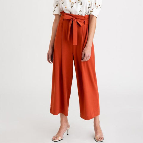 Butterfly End Waist Nine Points High Waist Wide Leg Pants