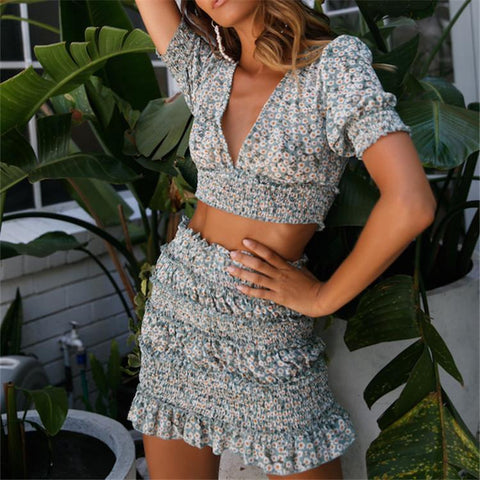 Chiffon Sexy V-Neck Short Sleeve Sweet Two-Piece Set