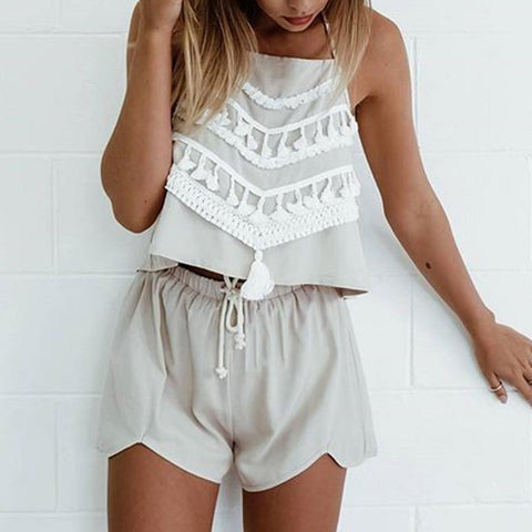 Fashion Tassel Apron Shorts Two-Piece Suit