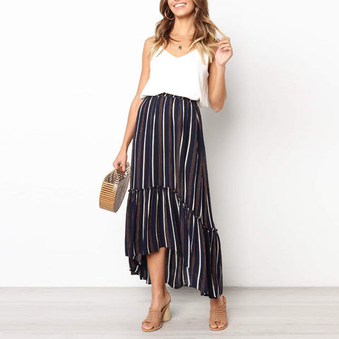 Wild Fashion Short Short   Fishtail Ruffled Striped Long Skirt